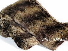 "Tahari Home Faux Fur Chinchilla Throw Blanket 50"" x 60"" New Tags"
