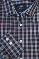 Charles Tyrwhitt Men's Navy White Red Check Cotton Shirt L Large