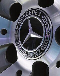 4 Full Black Wheat sheaf Logo For Mercedes Wheel Centres Hub Caps Embossed Logo