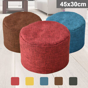 Solid Color FootStool Bean Bag Cover Ottomans Round Chair Cover without
