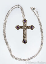 "Ladies Pectoral Cross, 30"" Chain, (SUBS869 S-Purple), Pastor, Minister, Clergy"