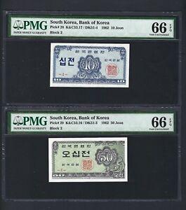 South Korea 2 Notes 10-50 Jeon 1962 P28-29 Block 2 Uncirculated Grade 66