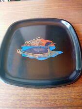 Vintage Couroc Mid Century Modern Gold Duck Inlay Square Platter