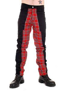 Tiger of London Mens Punk Rock Deviant Pants with Red Tartan Inner Leg.