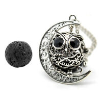 Owl Style Lava Stone Aromatherapy Essential Oil Diffuser Locket Necklace Pendant