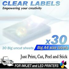 30 SHEETS A4 CLEAR INKJET PRINTER LABELS ADHESIVE TRANSPARENT TRANSPARENCY FILM
