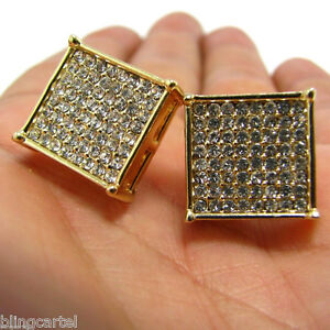 Huge 15mm Hip Hop Earrings Gold Tone Four Square Prong Iced Micro Pave Blinged