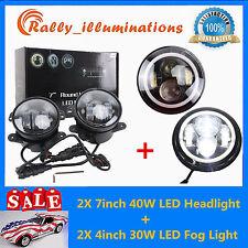 "7""40W LED Halo Angel Eyes Headlight Jeep Wrangler JK TJ Hl/Lo + 4'' 30W Fog Lamp"
