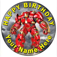 "IRON MAN HULKBUSTER AVENGERS PARTY - 7.5"" PERSONALISED EDIBLE ICING CAKE TOPPER"