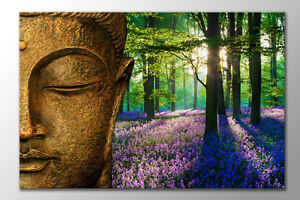 LARGE GOLD CALM BUDDHA BLUE BELL FOREST FLOWER ZEN CANVAS ART PRINT PICTURE NEW