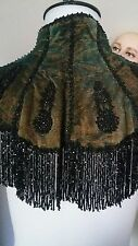Antique Victorian Iredescent Green Ornate Jet Cape Capelet Mantle Mourning