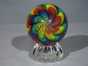 "Marbles: Hand Made Art Glass Alloway 10 Color Rainbow ""Raelynbow"" #36   2.57inch"