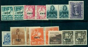 SOUTH WEST AFRICA, #135-43 SWA OVERPRINTS, COMPLETE SET, og, LH, Scott $63.95