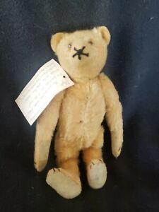 "Antique Steiff 9 1/2"" Mohair Teddy Bear with Glass Eyes & Note"