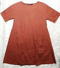 ZARA WOMAN BURNT ORANGE CINNAMON COTTON BLEND POCKETS DRESS TUNIC SIZE S