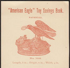 Antique Amerian Eagle Toy Savings Mechanical Bank J &E Stevens 1800's Trade Card