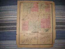 ANTIQUE 1870 PARIS TOWNSHIP MINERVA NEW FRANKLIN STARK COUNTY OHIO HANDCLR MAP N