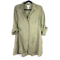 Soft Surroundings Womens Top Sz M Linen Button Down Tunic 3/4 Roll Sleeve
