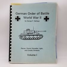 German Order Of Battle World War II George F Nafziger Volume I 1994 Spiral Bound