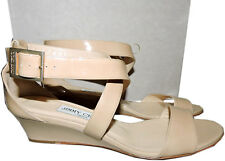 Jimmy Choo Nude Chiara Strappy Beige Sandals Low Wedge Slingback 38- 7.5 Shoe