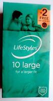 LifeStyles Condoms - 10 Pack Large Fit - Plus BONUS 2 SKYN condoms
