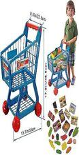 New Kids Children Boys/Girls Blue Shopping Trolley Cart w/ 34Pcs Fruits & Veg