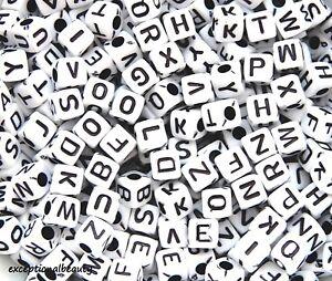 500 White Black Letters ABC Alphabet 5mm Square Cube Acrylic Craft Beads