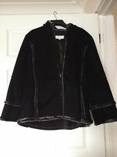 Next Ladies Black Coat with Hood - Size 16 BNWL