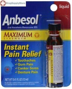 Anbesol Maximum Strength Instant Pain Relief Liquid - 0.41 Oz: PACK OF 3