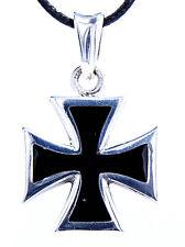 39: Eisernes Kreuz Anhänger 925 Sterling Silber Iron Cross schwarz Silberkette
