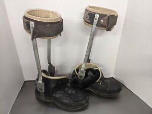Vintage Men's Child Polio Leg Braces Medical Oddity, Metal Leather size 9