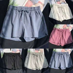 Women Summer Casual Solid Drawstring Beach Sweat Shorts Loose Casual Sport Pants