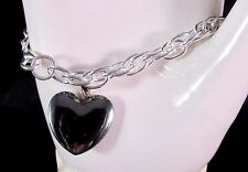 Chain Link Bracelet With Heart Charm Silver Tone 7 1/2 Inches