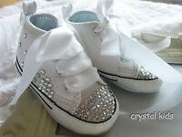 Baby Girls Reborn Blinged White Christening Converse Boots Pram Shoe UK 1 - 4