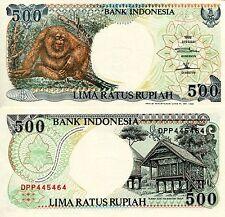 INDONESIA 500 Rupiah Banknote World Paper Money Currency Pick p128h Orang Utan