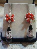 Orecchini nuovi argento 925 pallini corallo rosso mediterraneo onice nera perle