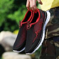 Mens Casual Walking Outdoor Flats Sneakers  Breathable Mesh Slip On Loafer Shoes