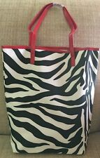 New Elizabeth Arden Zebra Pattern Red Handle and Trim Tote Bag