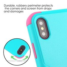 For iPhone X - Hard&Soft Hybrid Armor High Impact Case Cover Turquoise Blue Pink