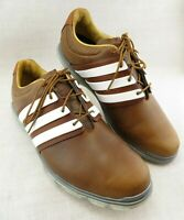 Adidas Adipure Brown Leather White Stripes Golf Shoes Lace Up Men's US 13