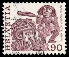 """SWITZERLAND 644 (Mi1108Aw) - Folk Customs """"Lotschental Masked Men"""" (pf10466)"""