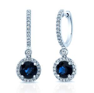 14K White Gold Diamond Blue Sapphire Earrings Drop Halo Dangle Round Cut Natural