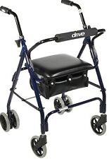 Winnie Mimi Lite Blue Rollator Walker with 4 Wheels and Seat 510 Drive Medical