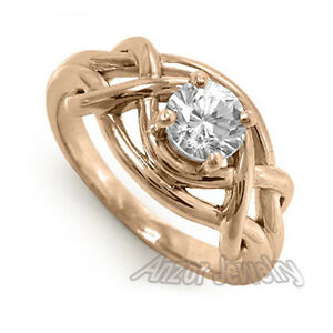 18k Solid Rose Gold Genuine White Sapphire Ring 1.00 cwt Sizes 4 to 9.5 #R1412.