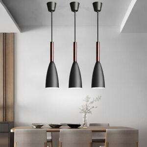 3X Black Pendant Lighting Wood  Lamp Kitchen Chandelier Light Bar Ceiling Lights