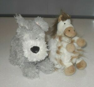 2 Jellycat Vintage Fluffy Pony Horse & Dog Soft Toy Beige Brown Rare Retired
