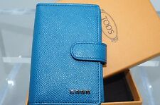 Tod's Men's Credit Card Case Wallet Blue CC Holder Leather Luxury NWT