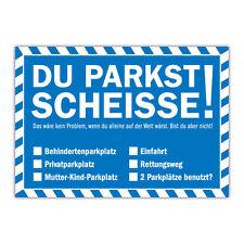 Du parkst Scheisse Notizblock mit 50 Blatt in Blau Falschparker Gehweg Radweg
