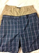 Two Pairs Of Men's Sz 38 Golf Shorts Khaki and Blue Plaid Active Wear