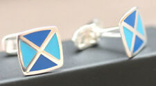 925 sterling silver blue flag square top cufflinks special occasion + gift box